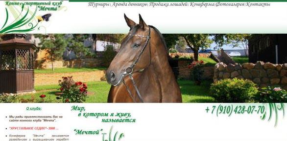 Портфолио MiolaWeb.ru - Сайт конного клуба