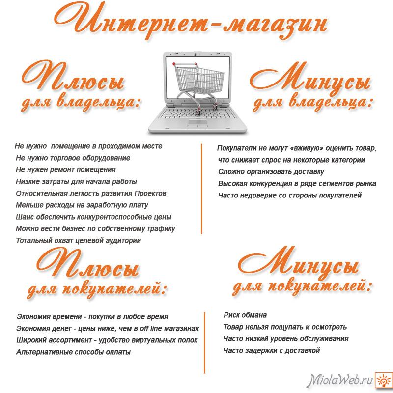 Плюсы и минусы интернет-магазина